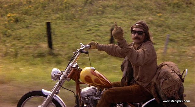 Dennis Hopper in Easy RIder, Giving you the bird